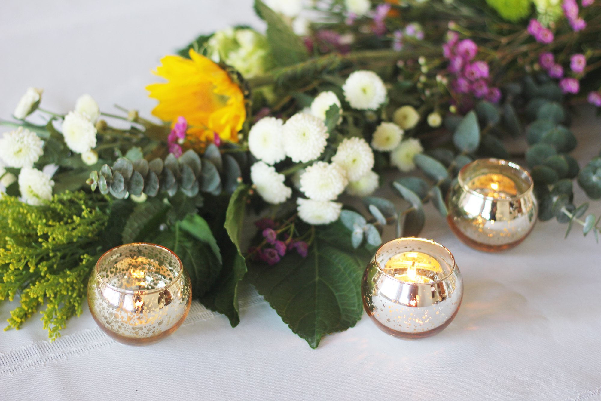 Just Artifacts Round Mercury Glass Votive Candle Holders 2'' H Speckled Gold (Set of 25) - Mercury Glass Votive Candle Holders for Weddings and Home Décor
