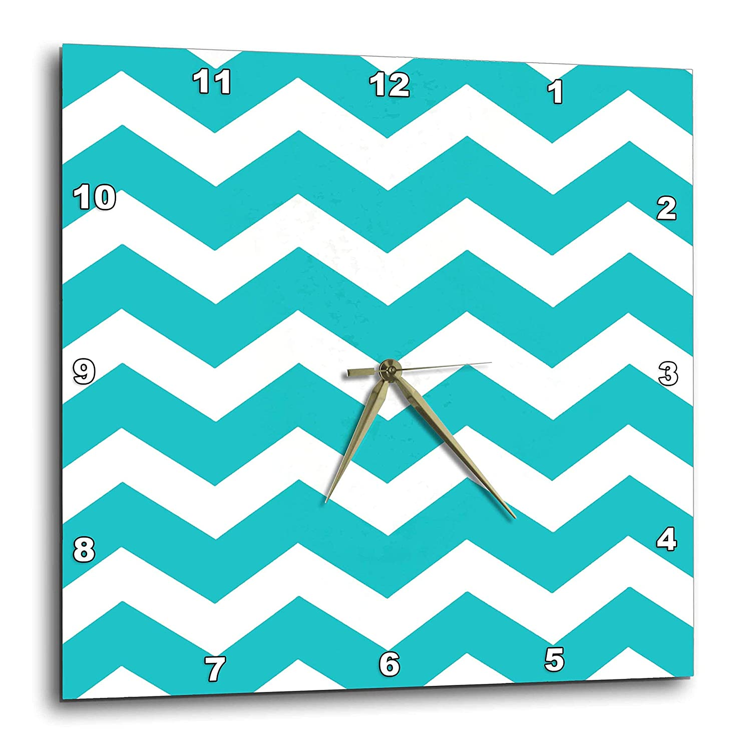 15 by 15-Inch 3dRose dpp/_179669/_3 Turquoise Chevron Zig Zag Pattern-Teal Aqua Blue Stylish Zigzags-Wall Clock