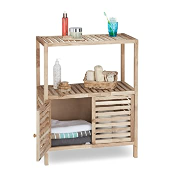 Relaxdays Badschrank Holz Mit 3 Ablagen, Breites Badregal, Walnuss Regal F.  Bad U