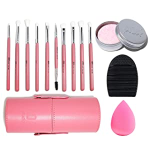 AOA Studio 10pcs Pink Makeup Brush Set with 1pc Super Soft Makeup Blender and Brush Cleaner Egg and Brush Soap Vegan Makeup Brushes for Eye Makeup Premium Synthetic Makeup Brushes