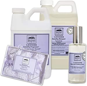 The Good Home Laundry Detergent 64 oz, Fragrance Fabric Softener 64 oz, Sheet and Clothing Linen Spray 4 oz, Closet and Drawers Scented Sachets 0.5 oz Lavender Scent, Refreshes Clothes and Linen