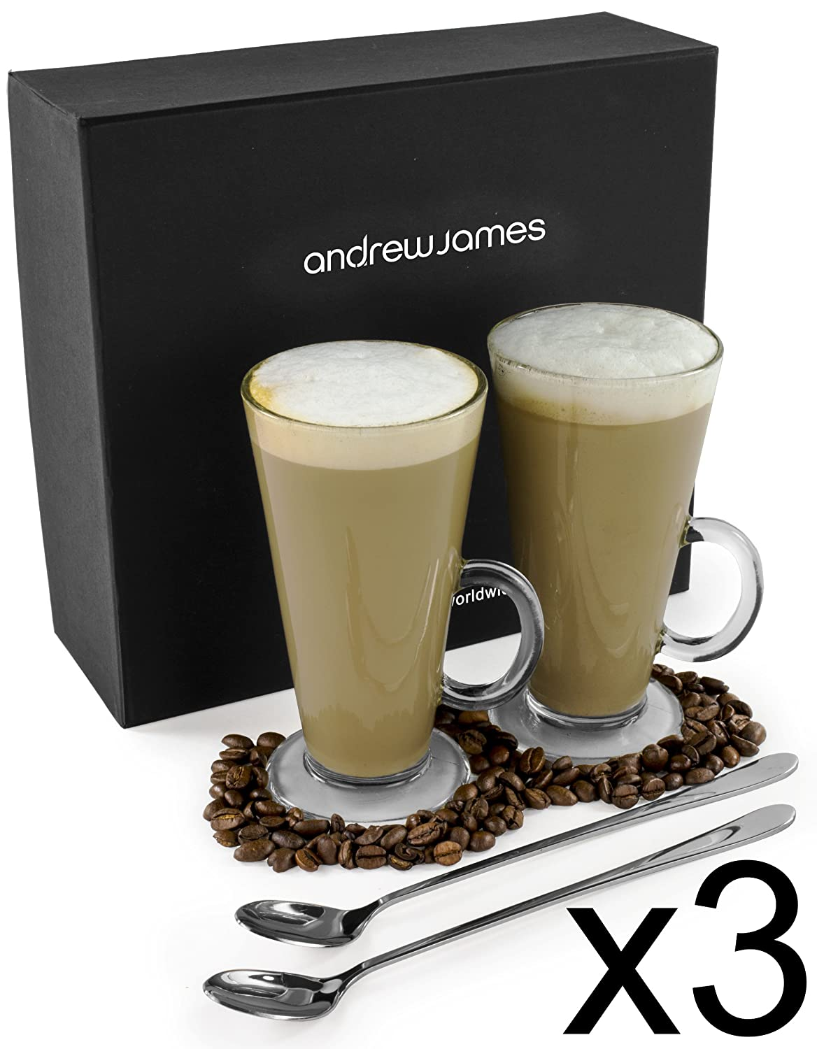 Andrew James Latte Coffee Glasses 240ml | Set of 2 Toughened Glass Coffee Mugs with Handles | Includes 2 Long Handled Stainless Steel Teaspoons | Presentation Gift Box