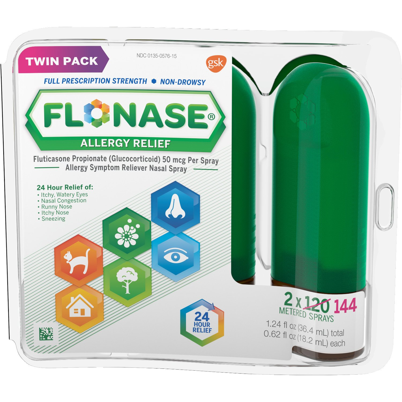 Flonase 24hr Allergy Relief Nasal Spray, Full Prescription Strength, 288 Sprays (Twinpack of 144 Sprays)