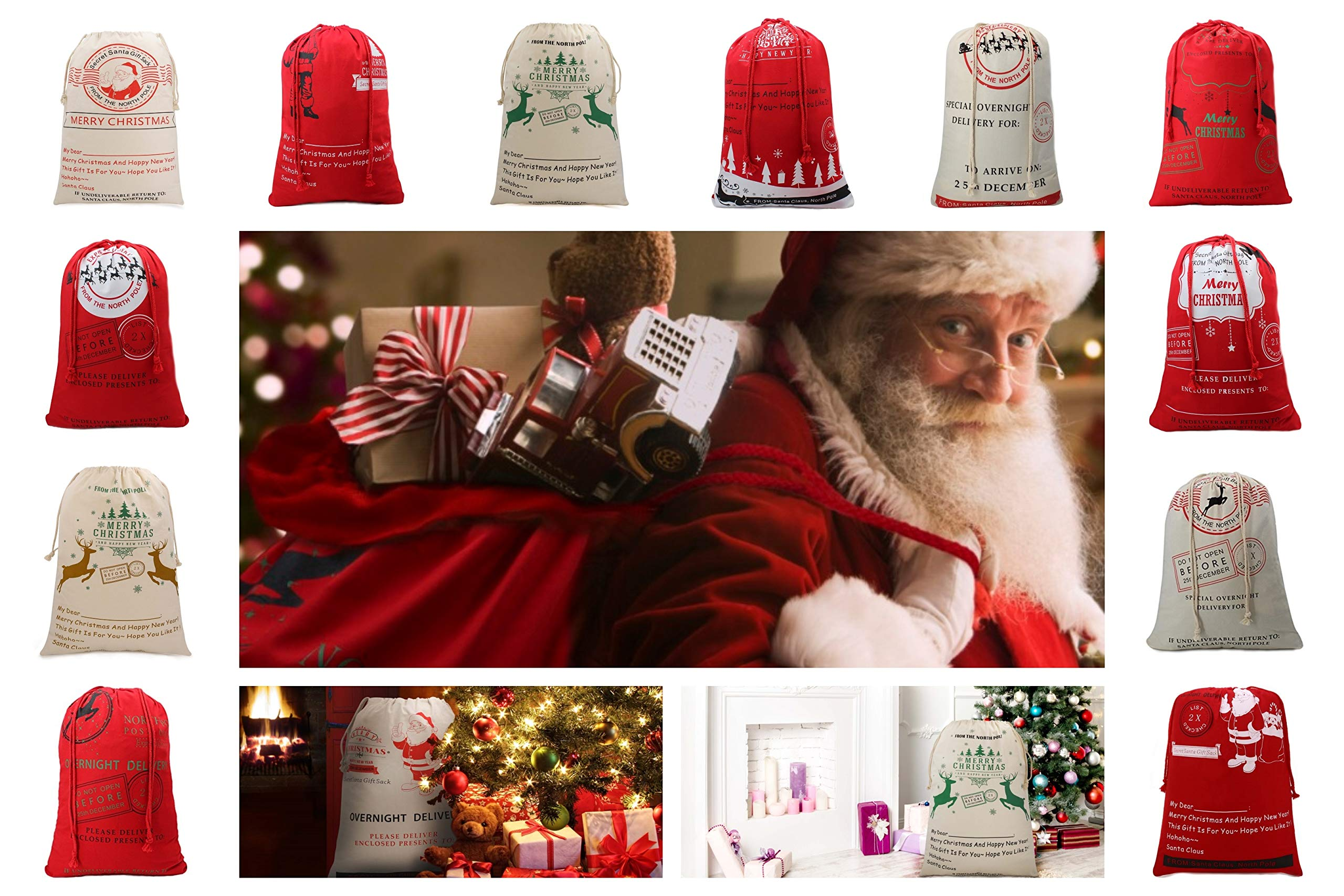 Christmas Santa Sack Reindeer Delivery Present Bags from North Pole Bags for Kids Large Christmas Decoration Stocking (12 Pack)