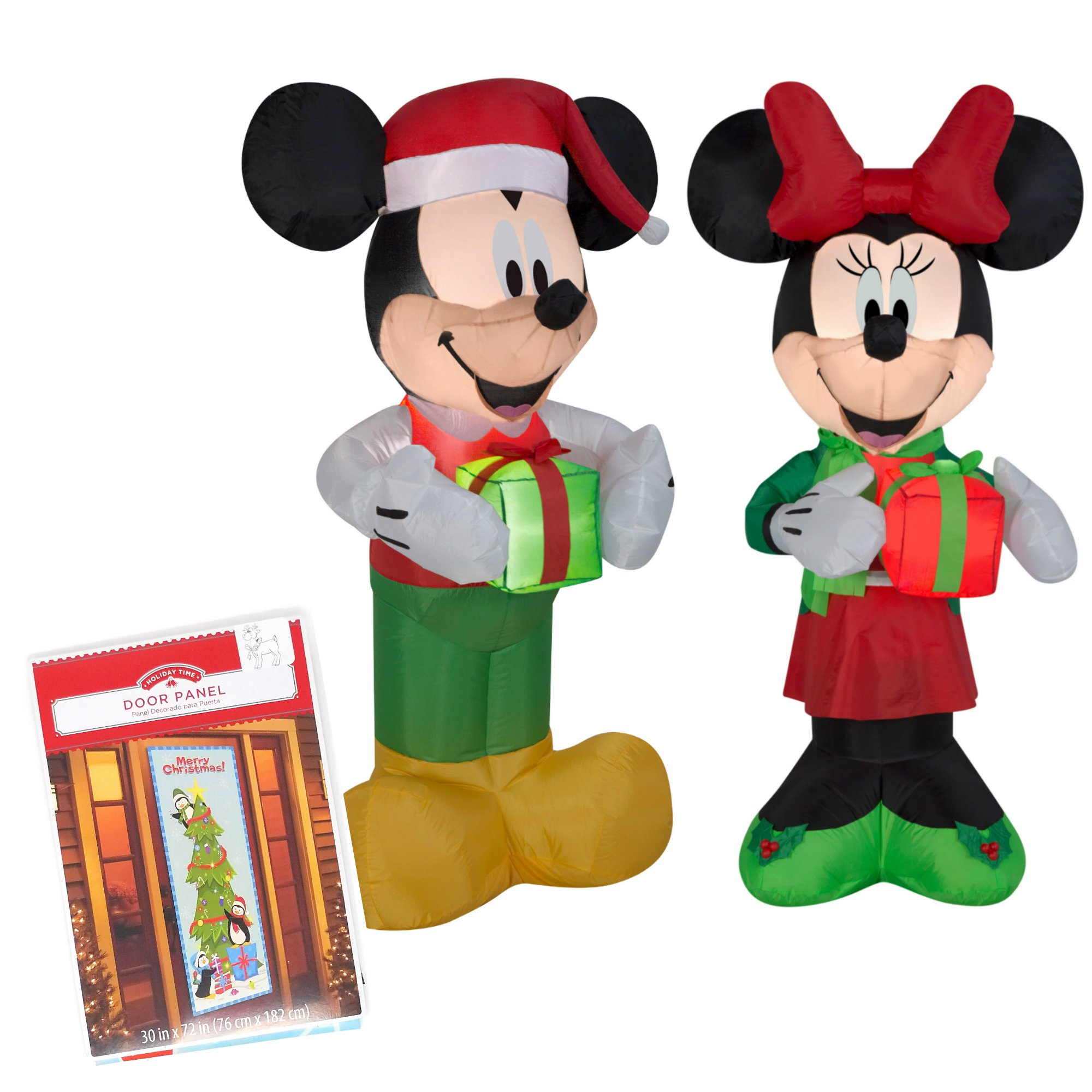 Inflatable Mickey And Minnie Christmas Yard Decorations, 5 Feet Tall, Self Inflatable With Energy Efficient LED, Bundled With Cute Door Covering by GemmyIndusteries and HolidayTime