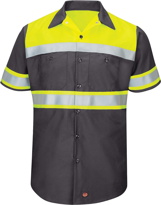 Red Kap Men's Hi-Visibility Short Sleeve Color Block Ripstop Work Shirt-Type O, Class 1: Clothing