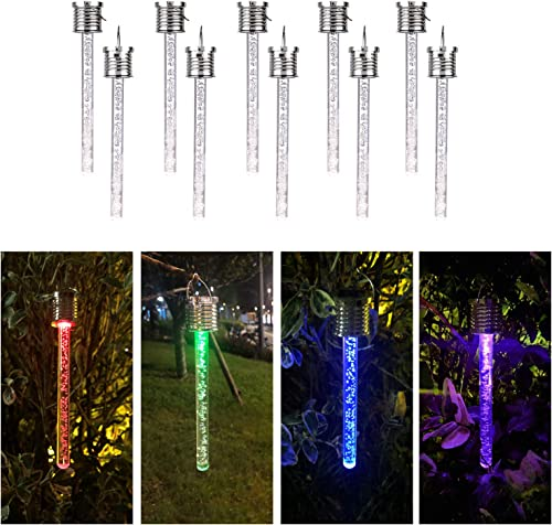 LaiAuu Solar Lights Outdoor Hanging, 10 Pack Multi-Color Changing Solar Lights Outdoor Decorative, Waterproof LED Solar Landscape Lights for Garden, Yard, Patio, Lawn, Holiday