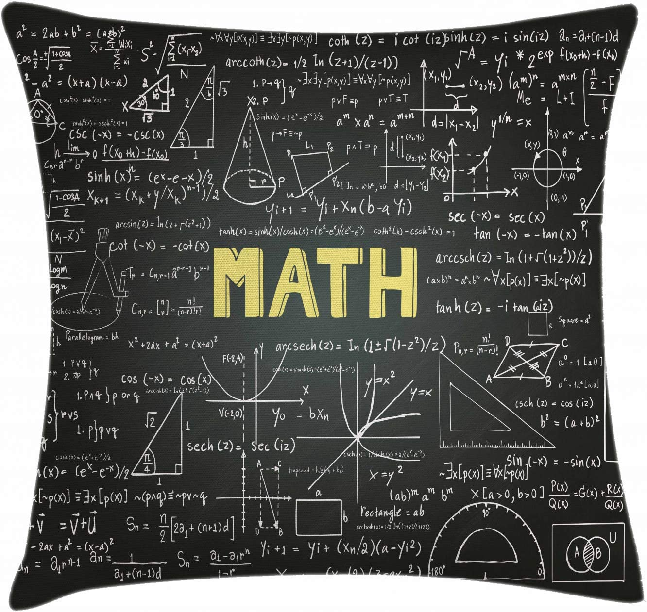 Mathematics Classroom Decor Throw Pillow Cushion Cover by Ambesonne, Dark Blackboard Word Math Equations Geometry Axis, Decorative Square Accent Pillow Case, 16 X 16 Inches, Dark Brown White Yellow