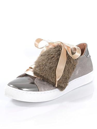 6c074d9043fe Alba Moda Damen Sneaker mit effektvoller Kunstfell-Lasche: Amazon.de ...