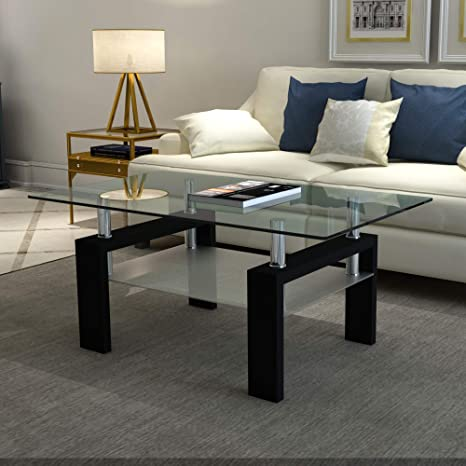 Amazon Com Meihua Glass Coffee Table For Living Room Rectangle Modern End Table Kitchen Dining