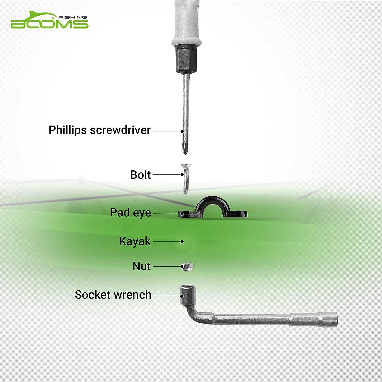 Booms Fishing MA1 Kayak Pad Eye Tri-Grip Rivet Kit Black