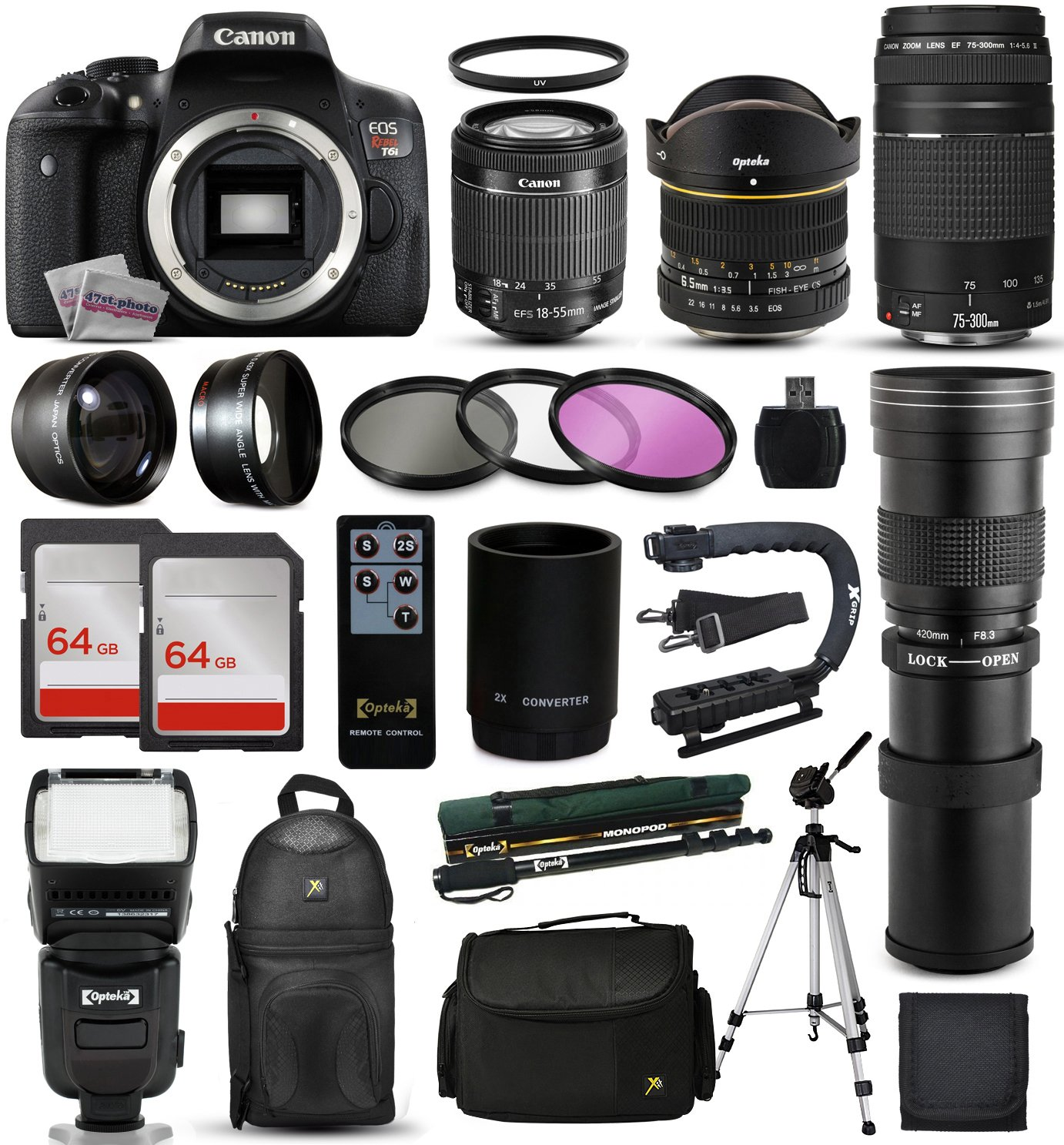 Canon EOS Rebel T6i DSLR Digital Camera + 18-55mm IS STM + 6.5mm Fisheye + 75-300mm III + 420-1600mm Lens + Filters + 128GB Memory + i-TTL Autofocus Flash + Backpack + Case + 70' Tripod + 67' Monopod 47th Street Photo CNT6I4LENS42075300K2