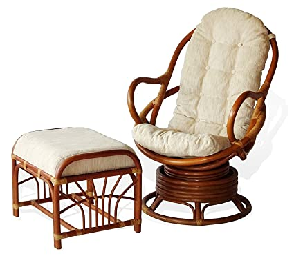 Java Swivel Rocking Rattan Wicker Chair Cream Cushion W/Ottoman,Colonial  Color