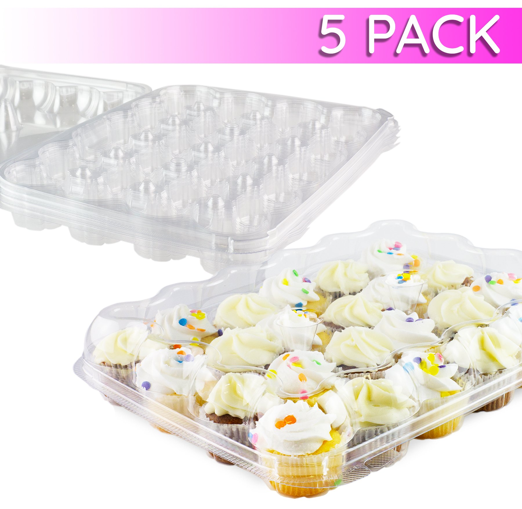 Chefible Premium 24 Mini Cupcake Container | Extremely Durable Cupcake Boxes | Mini Cupcakes, 5 Pack