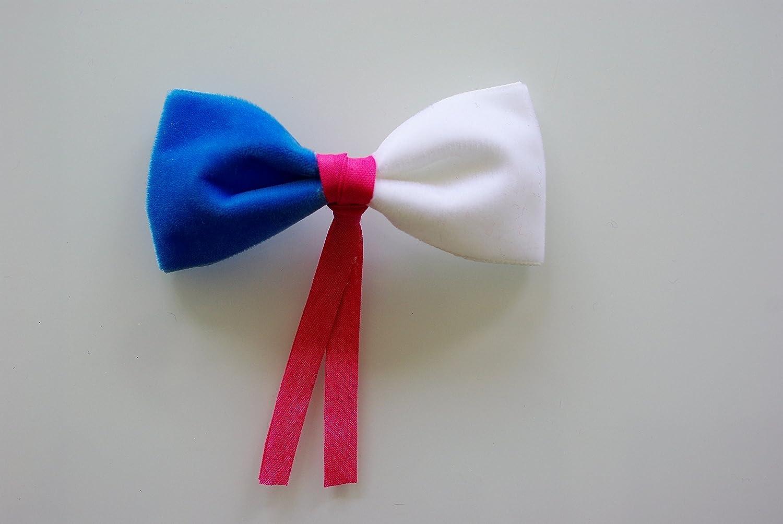Jouet Cadeau Collier élastique et nœud papillon blanc, rose et bleu en velours de qualité pour chien, chat, lapins, cochon d'inde, chinchillas, furet, nacs, animaux de compagnie rose et bleu en velours de qualité pour chien