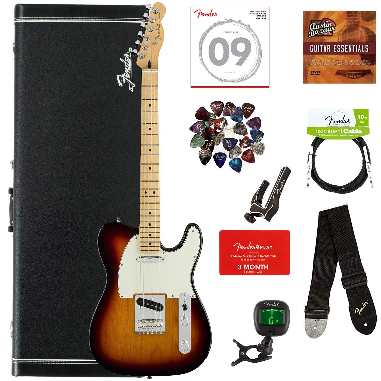 Fender Player Telecaster, Maple - 3-Color Sunburst Bundle with Hard Case, Cable, Tuner, Strap, Strings, Picks, Capo, Fender Play Online Lessons, and Austin Bazaar Instructional DVD