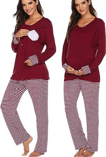 Ekouaer Maternity Nursing Pajama Set Long Sleeves Breastfeeding Sleepwear Soft Hospital Pregnancy Pjs Sets At Amazon Women S Clothing Store