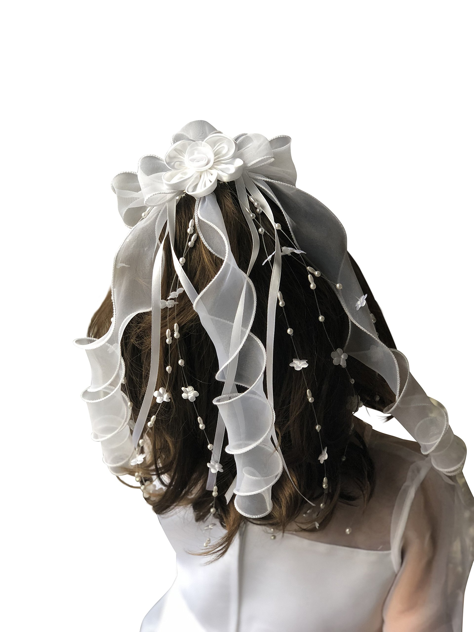 First Communion Veil White Foral Ribbon with Pearl from VGI by VGI (Image #4)