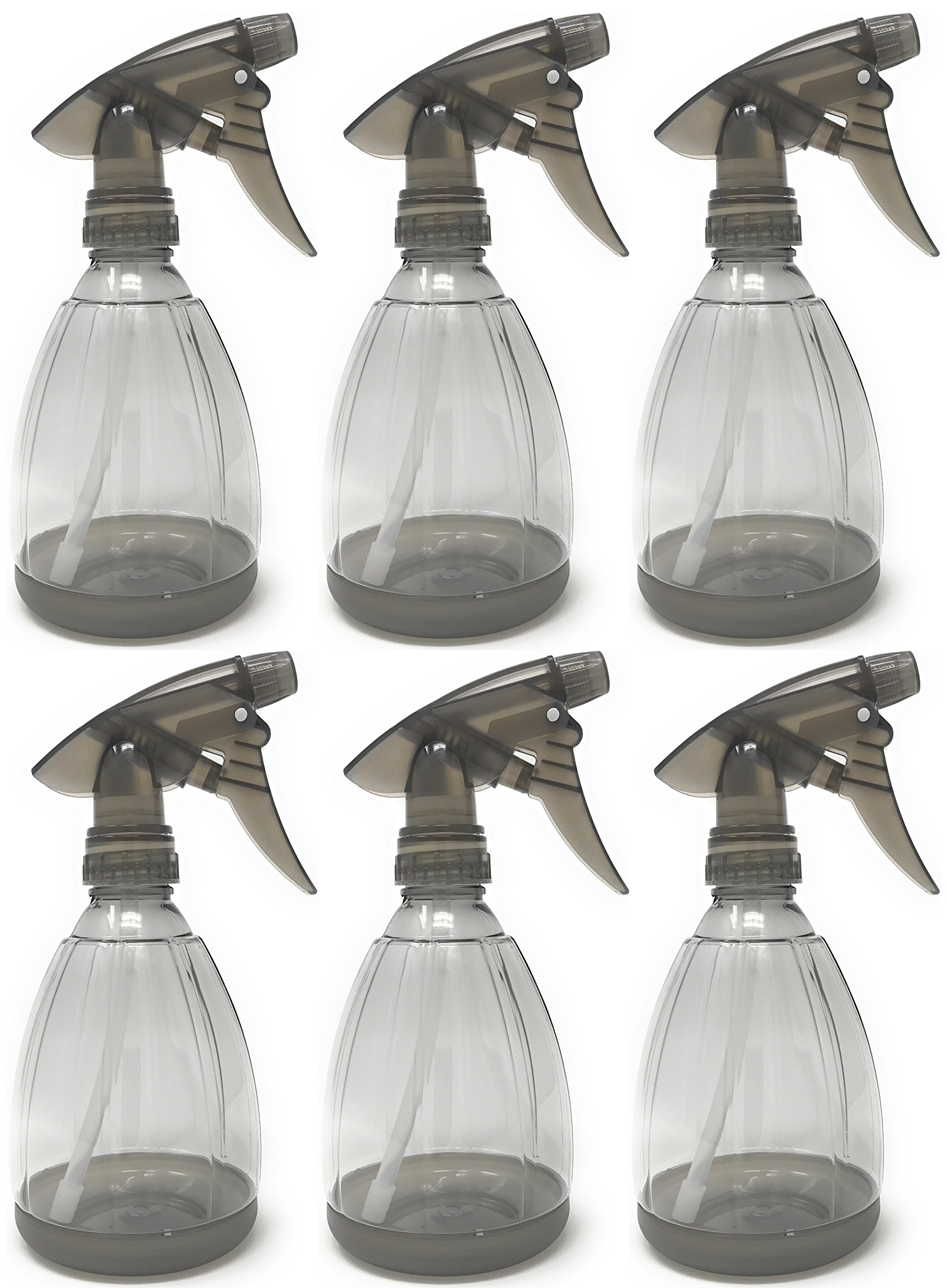 Empty Plastic Spray Bottle 12 Ounce, Smoke Grey, Adjustable Head Sprayer from Fine to Stream (Pack of 6) by Bar5F