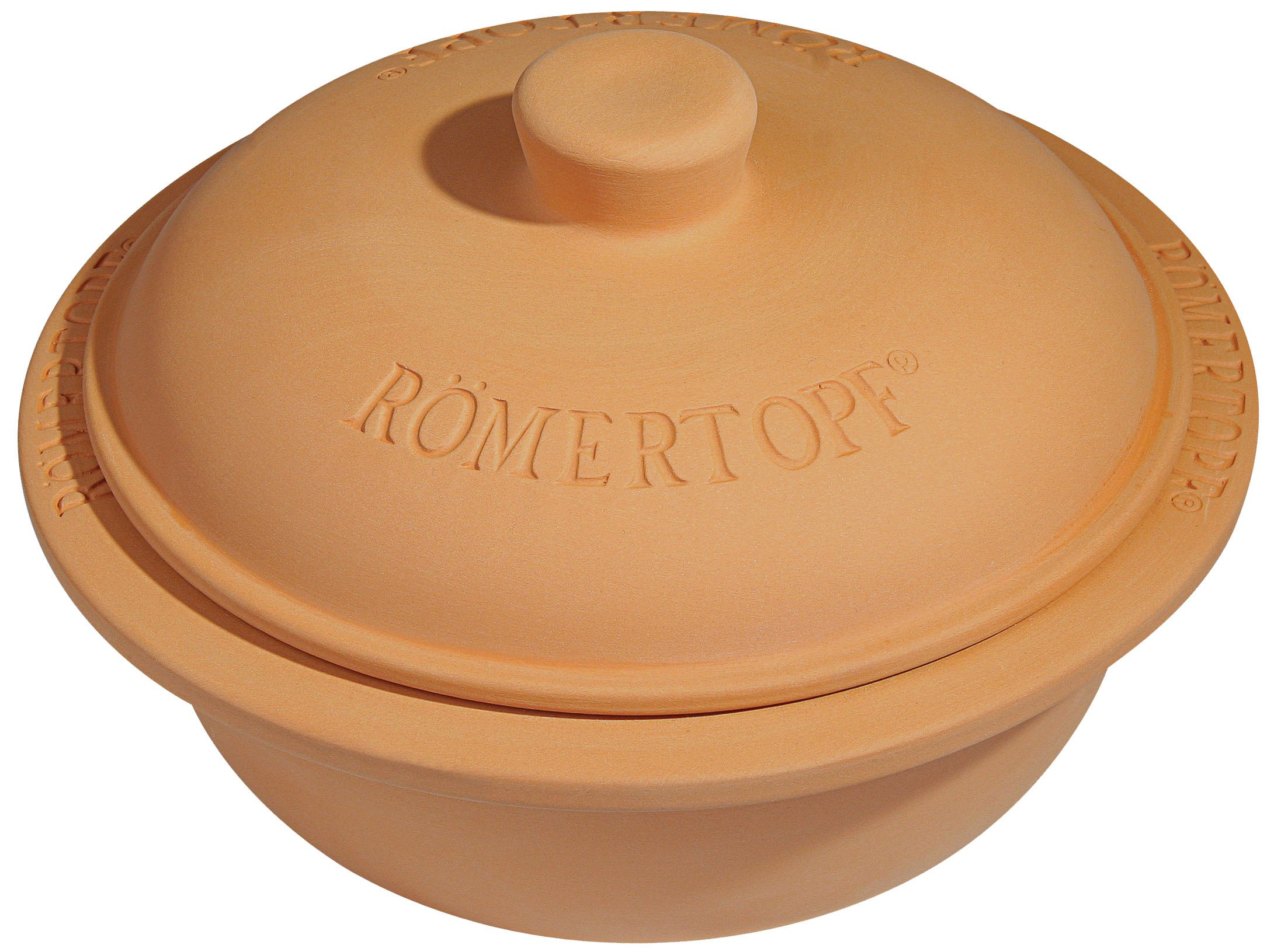Romertopf by Reston Lloyd Natural Glazed Clay Cooker, Round Casserole, 4-Quart