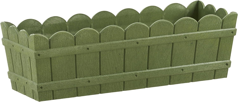 Emsa Country Window Box - Jardinera resistente a los rayos UV, resistente a heladas, Verde, 50 x 17 x 15 cm