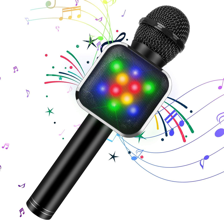 KIDWILL Micrófono de Karaoke Inalámbrico con Bluetooth para Niños y Adultos 5 en 1 Micrófono de Karaoke de Mano con Luces LED, Micrófono Portátil para Fiesta de Cumpleaños KTV Navidad (Negro)