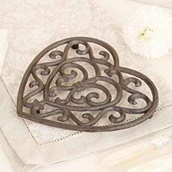 cast iron heart shaped trivet y971 a fantastic 6th wedding anniversary gift idea