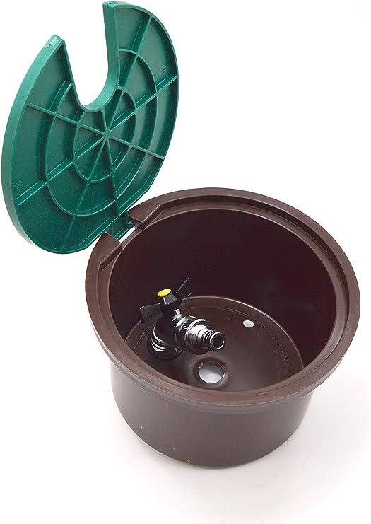 S&M 260 Arqueta Redonda con Llave y Codo Giratorio para riego enterrado, Verde y marrón, 17.8 x 17.8 x 13.2 cm: Amazon.es: Jardín