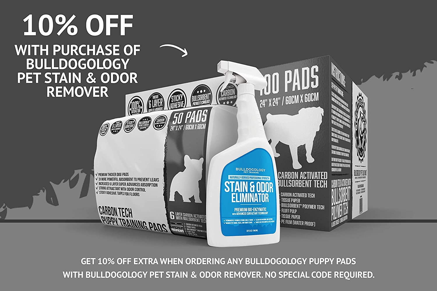 Bulldoglogy Premium Carbon Black Puppy Pee Pads with Adhesive Sticky Tape 6 Layers with Extra Quick Dry Bullsorbent Polymer Technology 24x24 Large Housebreaking Dog Training Wee Pads