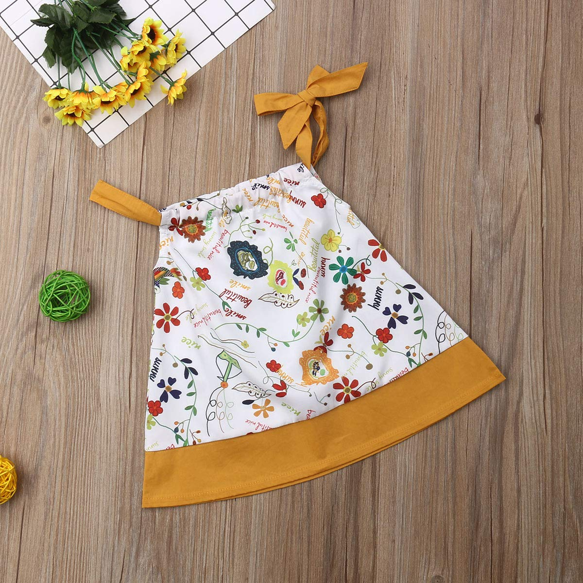 Infant Kid Baby Girls Halter Floral Dress Sleeveless Cartoon Princess Dress Sundress Summer Casual Outfit 3M-3Y