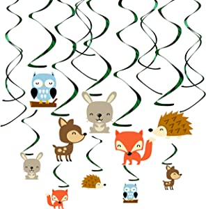 30Ct Woodland Animals Hanging Swirl Decorations, Forest Friends Birthday Party Supplies for Boy/Girl/Kids, Baby Shower Woodland Creatures Theme Decor, 1st First Bday Favors by Kristin Paradise