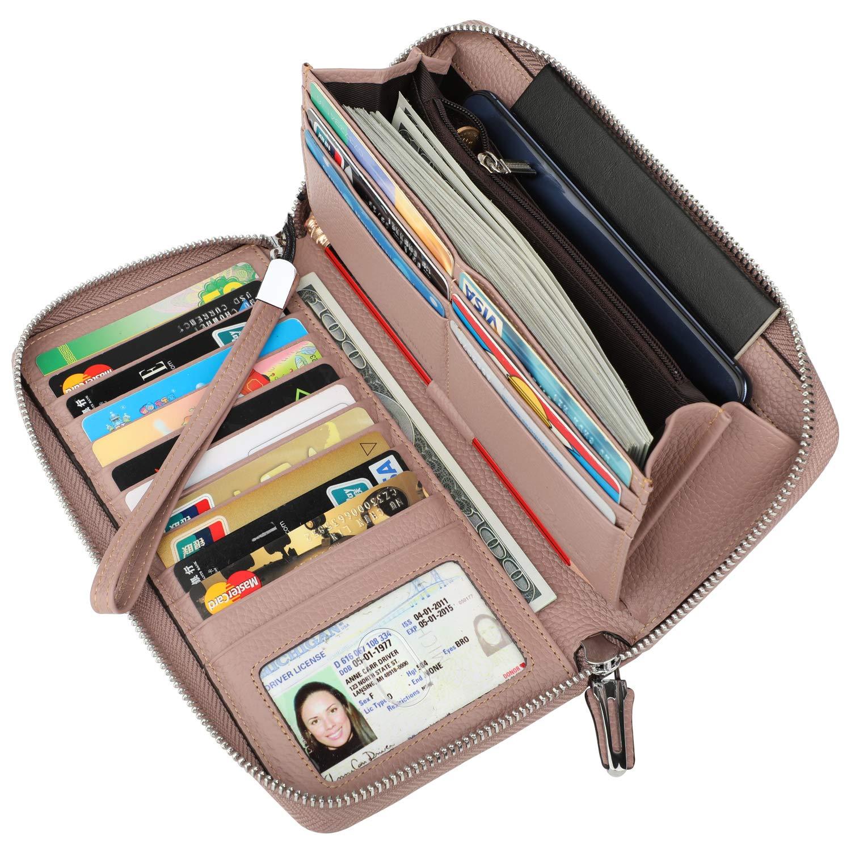 Lavemi Women's RFID Blocking Real Leather Zip Around Wallet Clutch Large Travel Purse Wristlet(Large Size Dark Pink)