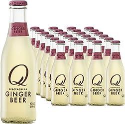 Q Drinks, Q Ginger Beer, Spectacular Ginger Beer, Premium Mixer, 6.7 Ounce Slim Bottle (Pack of 24)