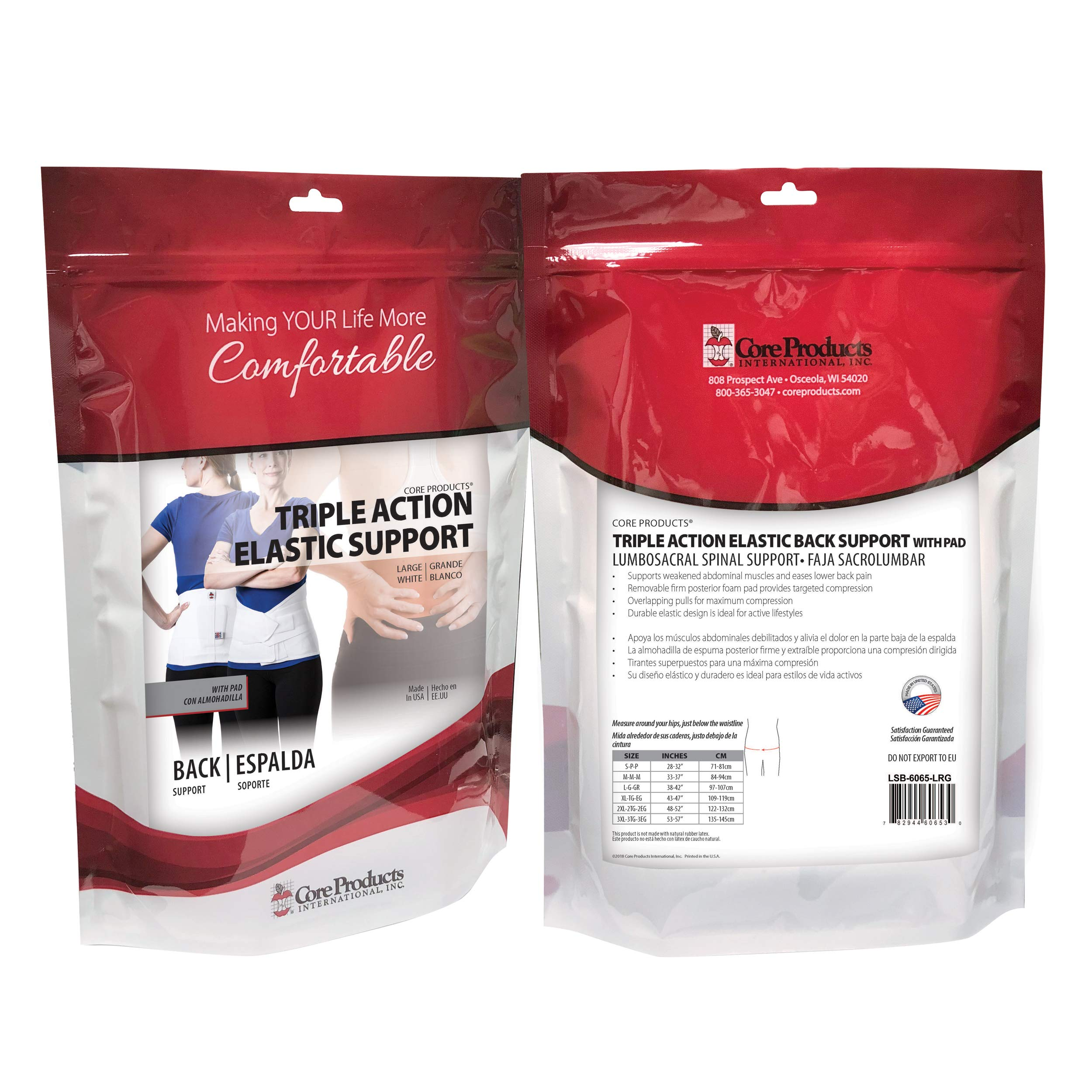 Core Products Triple Action Elastic Back Support w/Pad - Large by Core Products (Image #5)