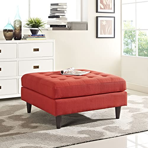 Modway EEI-2139-ATO Empress Mid-Century Modern Upholstered Fabric Ottoman, Large, Atomic Red Orange
