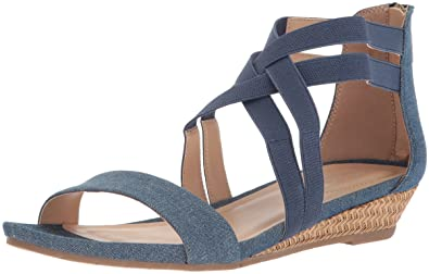 152b533fdbaba6 Reaction Kenneth Cole Great Stretch Denim Wedge Sandal Blue