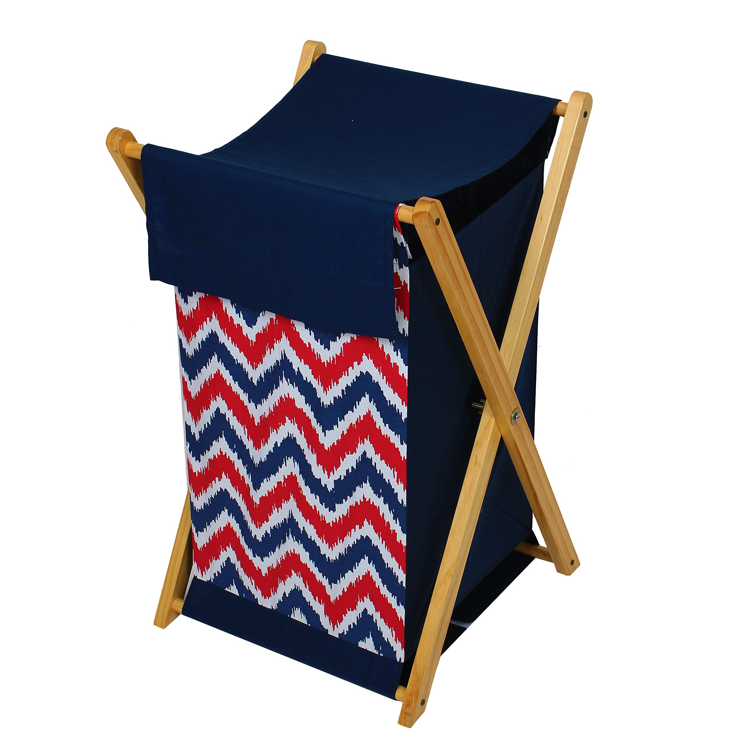 Bacati Mix and Match Zigzag Hamper, Navy/Red by Bacati