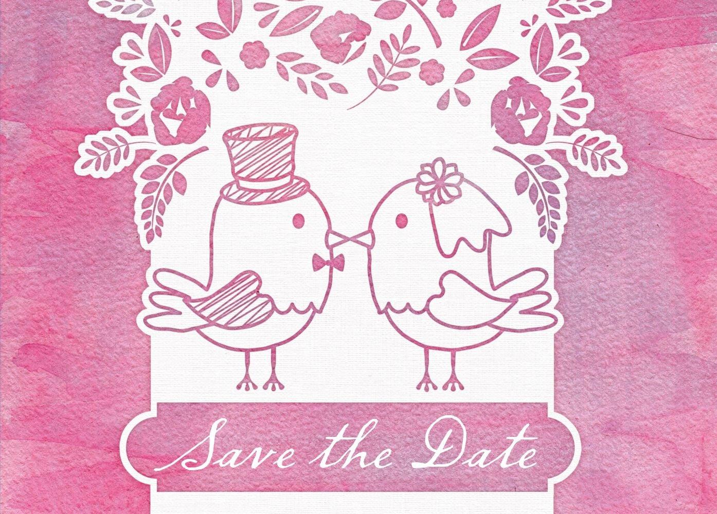 Save-the-Date Save-the-Date Save-the-Date Vogelpaar, 30 Karten, HellRosa B07B6NCR2C Postkarten Adoptieren 6c5e9d