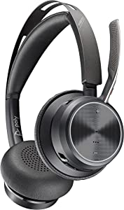 Poly - Voyager Focus 2 Office USB-A (Plantronics) - Bluetooth Dual-Ear (Stereo) Headset with Boom Mic - USB-A PC/Mac/Desk Phone Compatible - Active Noise Canceling - Works with Teams, Zoom & More