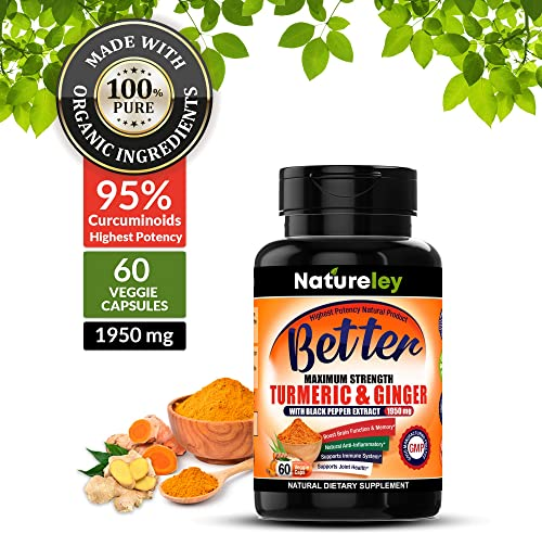 Organic Turmeric with Ginger Supplements with Black Pepper Extract. Extra Strength High Potency 1950mg and 95 Curcuminoids Premium Occasional Joint Pain Healthy Inflammation Support – 60 Capsules