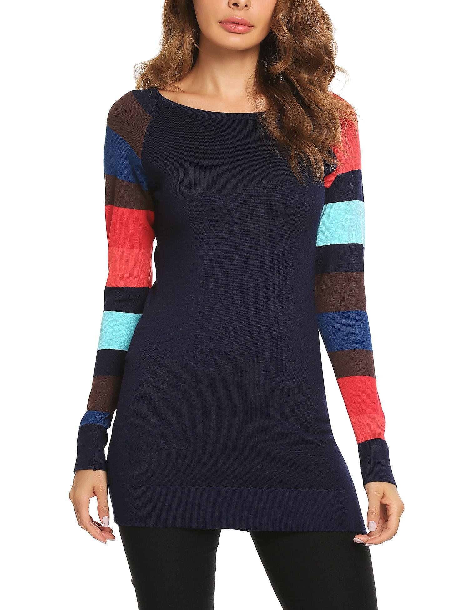 ELESOL Women Long Sleeve Crew Neck Colorful Striped Tunic Sweater Navy blue S