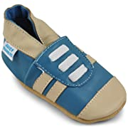 Beautiful Soft Leather Baby Shoes - Crib Shoes with Suede Soles - Blue Sneakers - 6-12 Months