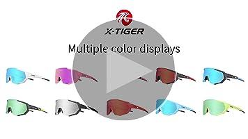 X-TIGER Gafas Ciclismo CE Certificación Polarizadas con 3 Lentes Intercambiables UV 400 Gafas,Corriendo,Moto MTB Bicicleta Montaña,Camping y Actividades al Aire Libre para Hombres y Mujeres TR-90: Amazon.es: Deportes y aire libre