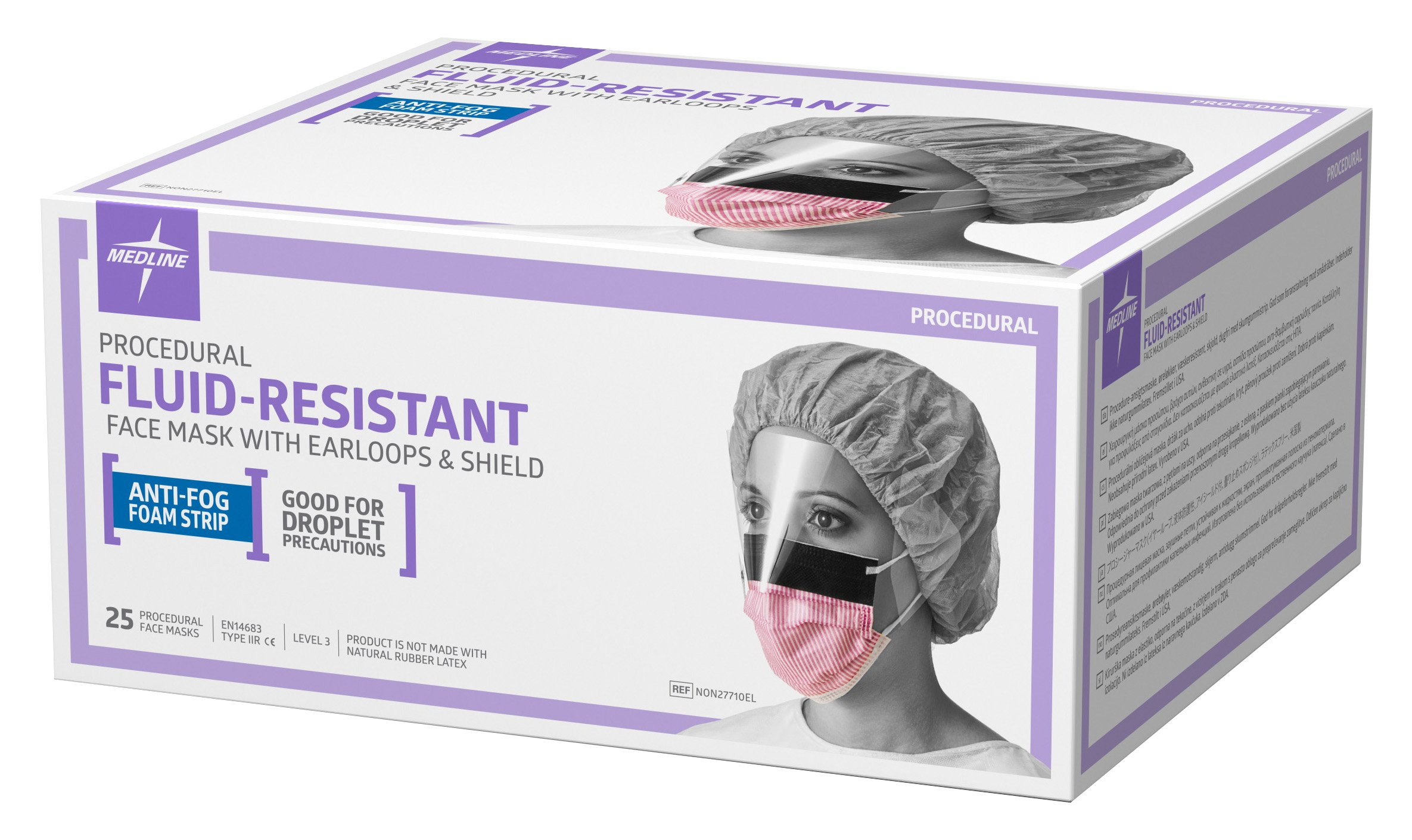Medline NON27710EL Fluid-Resistant Surgical Face Masks with Eyeshield and Earloop, Cellulose, Anti Fog, Latex Free, Purple and White (Pack of 100) by Medline (Image #4)