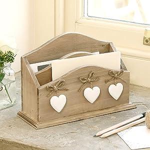 Shabby Chic Wooden Letter Desk Tidy W21cm x H14cm x D7.5cm