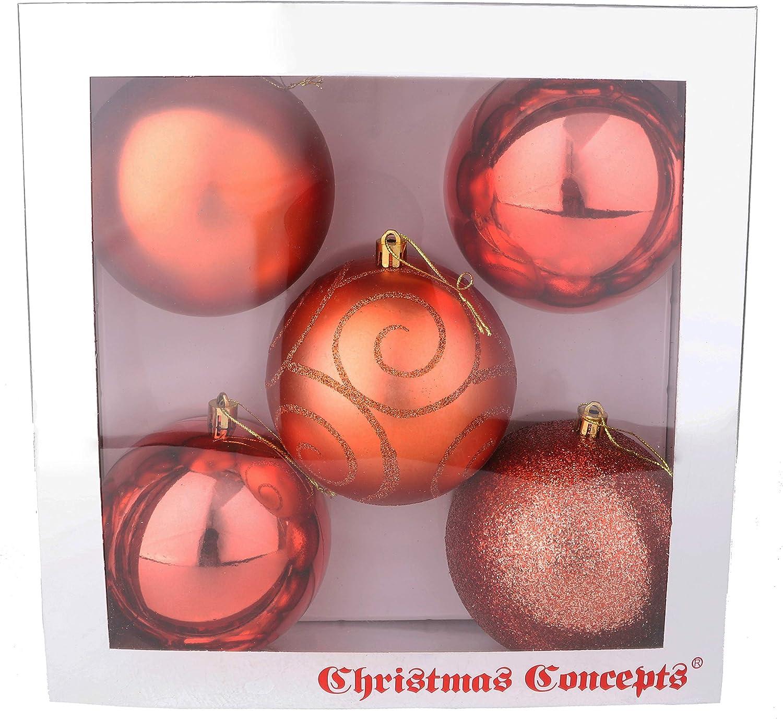 Mates et paillet/ées d/écor/ées Boules de No/ël 100mm Extra Grandes Christmas Concepts/® Pack of 5 Violet Boules Brillantes