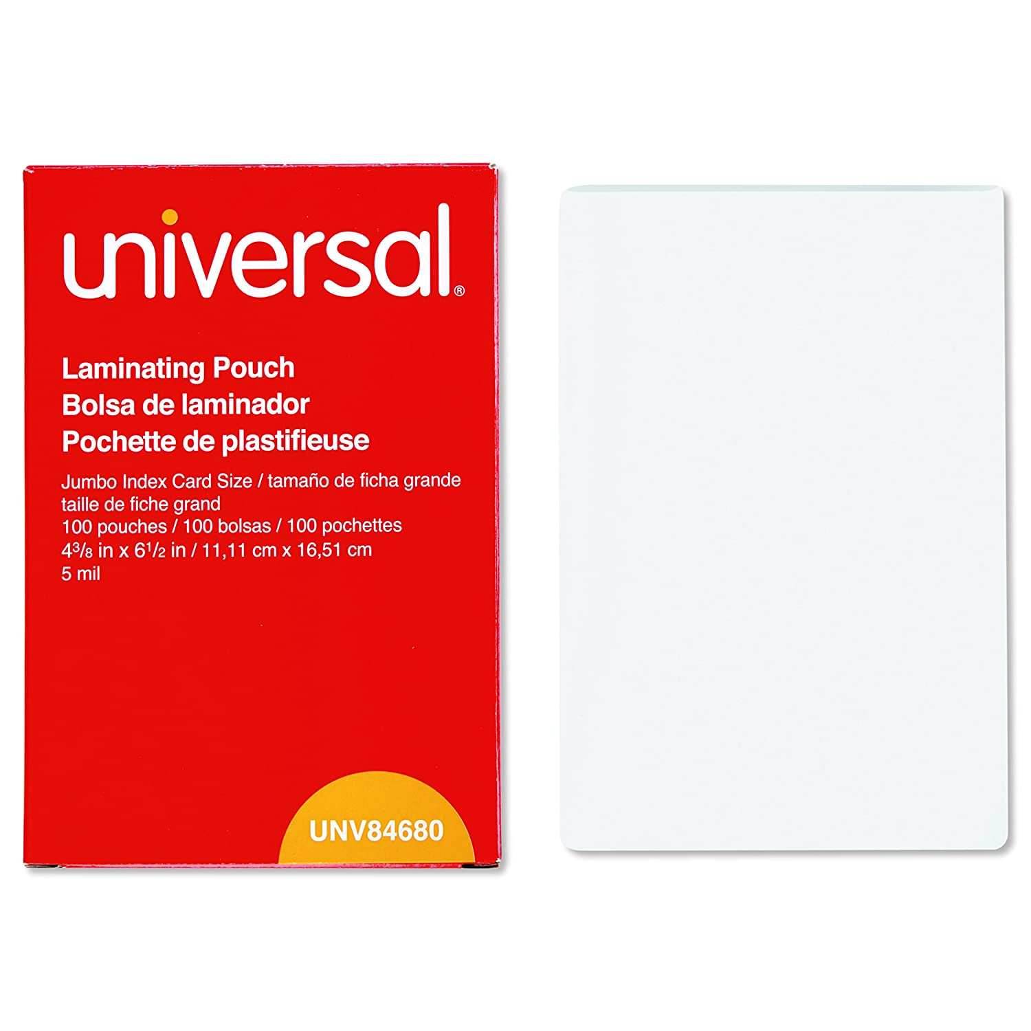 Universal 84680 Clear Laminating Pouches, 5 mil, 4 3/8 x 6 1/2, Photo Size (Box of 100)