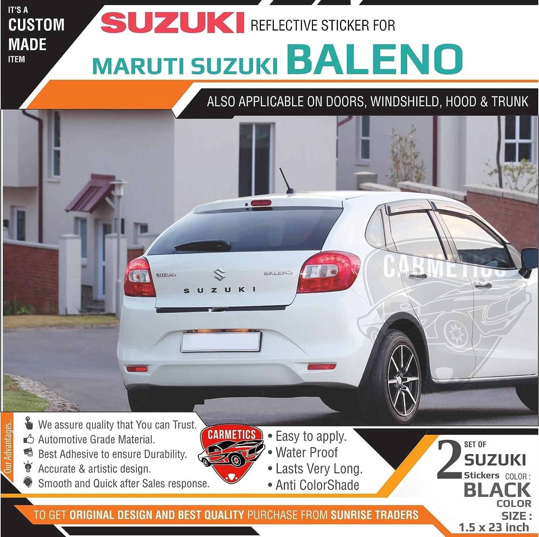 Carmetics Suzuki Stickers For Baleno Black 2pcs Amazon In Car Motorbike [ 1496 x 1500 Pixel ]