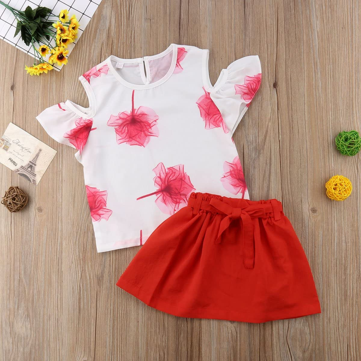 Baby Kid Girl Off Shoulder Floral T-Shirt Short Sleeve Top Red Skirt Playwear Summer Casual Outfit