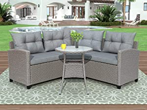 STARTOGOO 4 Piece Soft Cushions and Round Table, All-Weather Patio Furniture Set, Outdoor Sectional Sofa for Balcony Porch Garden, Gray Wicker